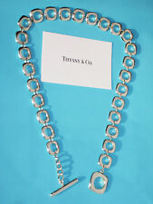 Tiffany & Co Sterling Silver Cushion Toggle Charm Necklace 17 Inch