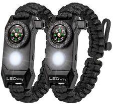 Ledway Paracord Bracelet Tactical Survival Gear Kit 6 in 1 70 Larger Compass Le