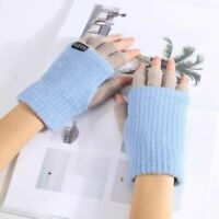 Women Knitted Gloves Winter Warm Fingerless Gloves Soft Fashion Knit Mittens