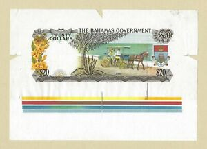 1965 BAHAMAS $20 Dollars, Government Issue, Back Proof UNC, P-23p Rare & Unusual