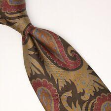 Paul Stuart Mens Silk Necktie Light Brown Red Gray Paisley Print Made in Italy