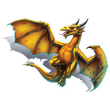 """""""Dragon"""" Temporary Tattoo, Yellow Flying Winged Dragon w/ Horns, USA Made"""