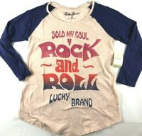 NWT NEW Womens Lucky Brand Sold My Soul For Rock And Roll T-Shirt Top Tee