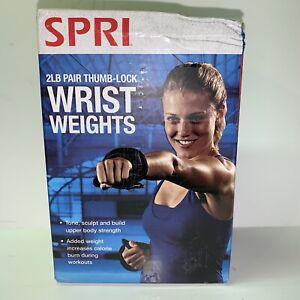 NEW SPRI 2 lb Pound Pair Wrist Weights Thumb Lock Walking Running Strength Train