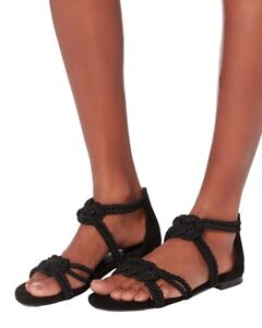 NEW MAISON ERNEST, gladiator Sybille sandals in black silk rope, size 38/7.5 US