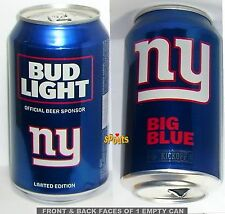 2017 BIG BLUE NEW YORK GIANT BUD LIGHT KICKOFF BEER CAN FOOTBALL NY NFL MAN CAVE