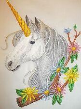 "Embroidered Quilt Block Panel ""Unicorn In Bloom"" Pure Irish Linen Fabric"