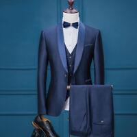 3Pieces Jacket Pants Vest Men Suits Wedding Shawl Lapel Groom Coat Blazer Tuxedo