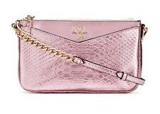 Victoria's Secret Light Pink Luxe Python Slim Downtown Crossbody Bag