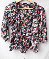 TWENTY ONE small blue, orange, white ABSTRACT rayon Boho Hippie BLOUSE tied wais
