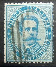 1879 Regno D'Italia  25 centesimi azzurro Umberto I   Sass. 40