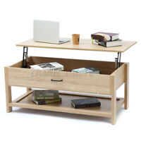Compartment Lift up Top Tea Coffee Table Laptop Storage Shelves Living Room