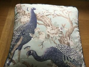 "18"" Laura Ashley Belvedere Duck Egg Blue Fabric Cushion Cover Piped"