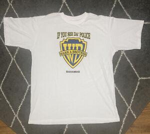 Vtg If You See Da Police Warn a Brother Shirt Funny Humor XXL White Bahamas 90s