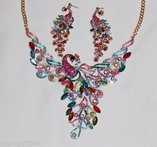 "PRETTY AS A PEACOCK"" MULTICOLORED CRYSTAL NECKLACE EARRINGS SET"