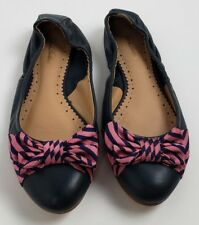 Brooks Brothers Silk Bow Tie Genuine Leather Ballet Flats Navy Womens Sz 8