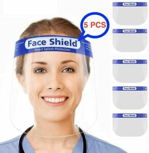 5PCS Full Face Shield Anti-Fog Visor Reusable Plastic Safety Mask Visor Guard UK