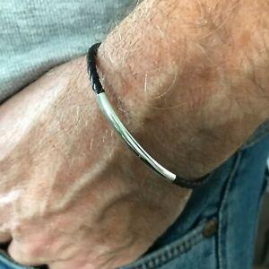 Mens Leather Sterling Silver Bracelet, Slim Braided Black / Brown Bead Wristband