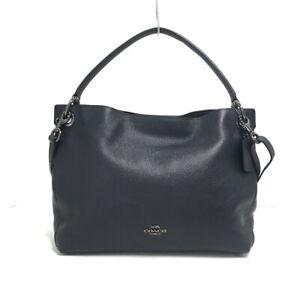 Auth COACH Clarkson Hobo 24947 Dark Gray Leather Shoulder Bag