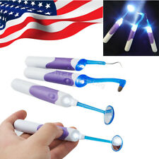 USA Dental Cleaning Tool Kits LED Light Mirror+Plaque Remove+Tooth Stain Eraser