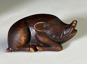 Antique Japanese Carved Wood Netsuke Of A Boar Meiji Period