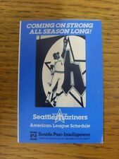 1980 Fixture Card: Baseball - Seattle Mariners (fold out style). Any faults with