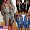 US Womens Batwing Loose Baggy Cardigan Long Jacket Coat Knitwear Parka Plus Size
