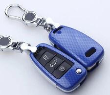 Carbon fiber Blue key cover case for AUDI A3 A4 A5 A6 A7 A8 R8 TT S5 S6 S7 S8