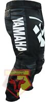 YAMAHA BLACK MOTORCYCLE MOTORBIKE BIKER COWHIDE LEATHER RACING ARMOURED PANT