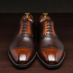 Handmade Men Simple Brogue Brown Lace Up Shaded Leather Shoes, Men Luxury shoes
