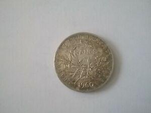 ANCIENNE PIECE FRANCAISE 5 FRANCS SEMEUSE 1960 ARGENT
