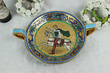 Vintage italian DERUTA marked porcelain Centerpiece coupe bowl horse rider