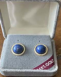 Lapis - 14 Gold Posts New With Tag