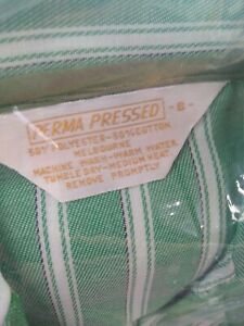 Vintage NEW Perma Pressed Men's Pajamas Size 38-40 green and white striped
