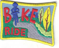 """BIKE RIDE"" PATCH w/RIDER - Iron On Embroidered Applique - Sports, Bikers,Cycles"