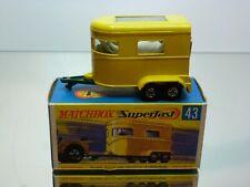 MATCHBOX SUPERFAST 43 PONY TRAILER + HORSES - YELLOW - VERY GOOD IN BOX