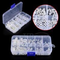 150Pcs M2 ~ M5 White Nylon Hex Screw Bolt Nut Washer Assortment Kits With Box
