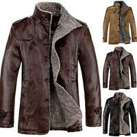 Mens PU Leather Fleece Fur Lined Trench Coat Jacket Winter Warm Thicken Overcoat