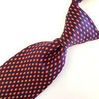 "TOMMY HILFIGER Mens Tie Geometric Blue Red White 100% Silk Made USA 60"" L"