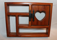 "13"" x 10"" x 2"" Wood 5 Compartment Wall Shelf with Hinged Door & Heart"
