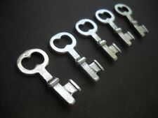 4 Silver Key Charms Steampunk Pendants Skeleton Keys Antiqued 2 Sided