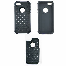 Black Silicone Bling Crystal Hard Case Cover For iPhone 5 5g