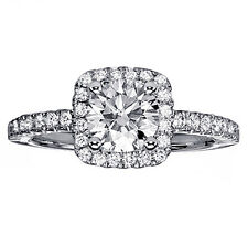 1.20 CT TW Diamond Halo Engagement Ring in Platinum Micro Pave Setting New