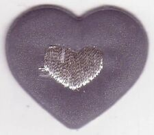 Reflective Gray Grey Heart Embroidery Applique Patch