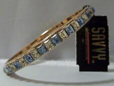 Vintage SWAROVSKI Crystal Channel Set Bangle Bracelet AMAZING PALE YELLOW & BLUE