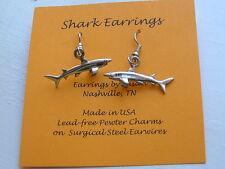 Shark Charm Earrings silver pewter USA-made Jimmy Buffett finhead marine biology