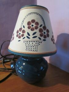 """7 1/2"""" tall blue ceramic lamp & ivory colored lamp shade & on/off switch"""