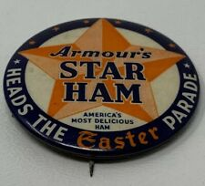 New listing Armour's Star Ham Pinback Celluloid Heads The Easter Parade 2� Vintage 19-1083