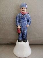 Ceramic Railroad Signal Man Bell, Coveralls & Lantern