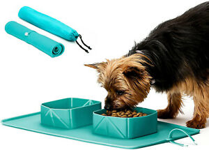 Travel dog water collapsible  bowl  portable pet roll up silicone dish feeder